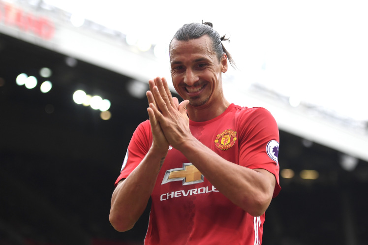MANCHESTER, ENGLAND - SEPTEMBER 24: Zlatan Ibrahimovic of Manchester United reacts during the Premier League match between Manchester United and Leicester City at Old Trafford on September 24, 2016 in Manchester, England. (Photo by Laurence Griffiths/Getty Images)