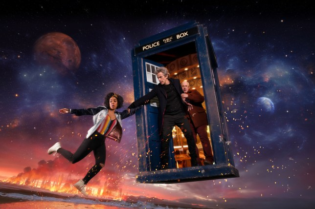 Bill (PEARL MACKIE), The Doctor (PETER CAPALDI), Nardole (MATT LUCAS)