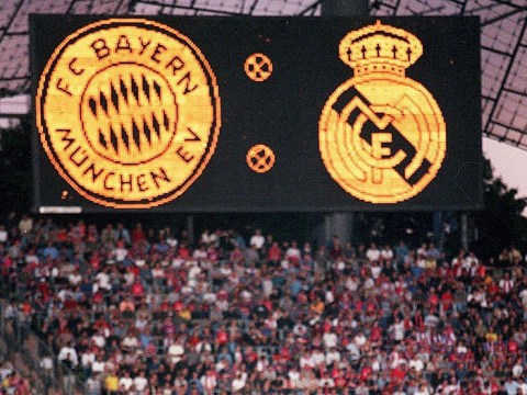 Classic images from the history of Bayern Munich v Real Madrid, featuring David Beckham, Oliver Kahn and both Ronaldos