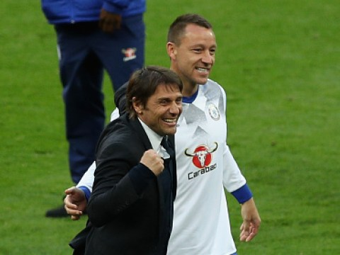 John Terry cracks Victor Moses on the head and Antonio Conte thinks it's hilarious