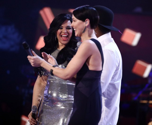 Editorial Use Only - No Merchandising. In US Exclusive Rates Apply Mandatory Credit: Photo by Tom Dymond/ITV/REX/Shutterstock (8560430lb) MIchelle John and will i am with Emma Willis 'The Voice' TV show final, London, UK - 01 Apr 2017