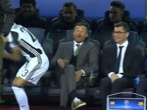 Luis Enrique's brilliant reaction as Barcelona vs Juventus kicks off without Dani Alves