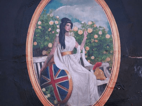 Amy Winehouse smokes in Rule Britannia mural outside her favourite boozer The Hawley Arms in Camden