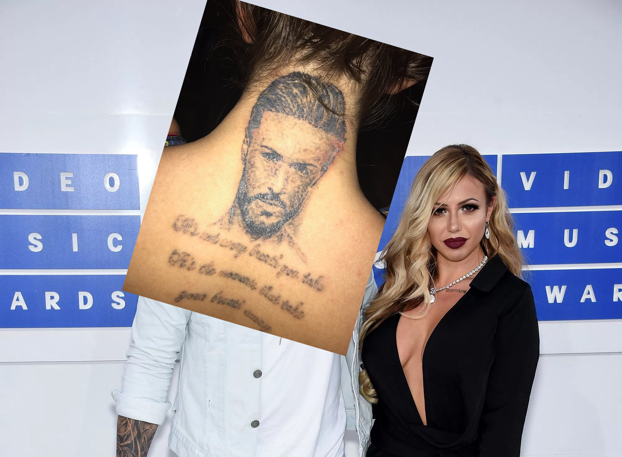 Holly Hagan shades ex-Kyle Christie as tattoo removal gives his portrait 'skin condition'