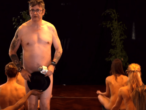 'I hope they can get him off the floor!' Joe Pasquale did a spot of naked yoga on The Nightly Show