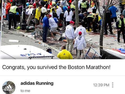 Adidas under fire for email congratulating runners for surviving Boston Marathon