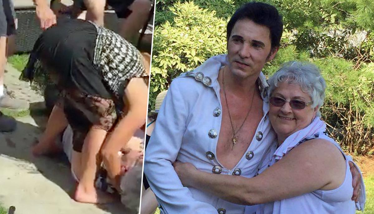 Elvis Presley-loving grandmother faints after being surprised by impersonator