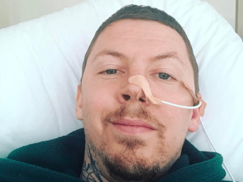 Professor Green is being fed through his nose as he battles pneumonia after rare allergic reaction