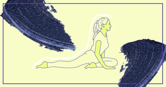 Illustration of pigeon yoga pose