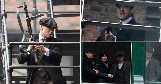 Adrian Brody and Cillian Murphy have been seen filming Peaky Blinders in Manchester (Picture: Xposure/SWNS)