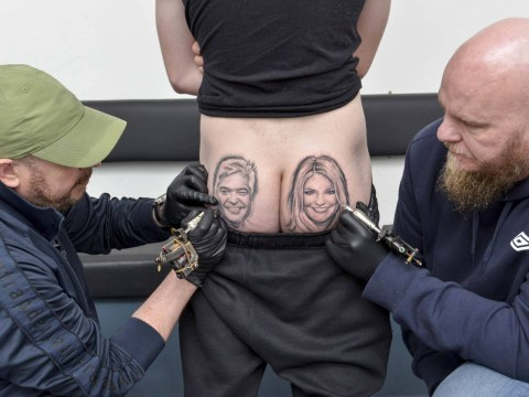 Fan gets This Morning presenters Holly Willoughby and Philip Schofield tattooed on his bum