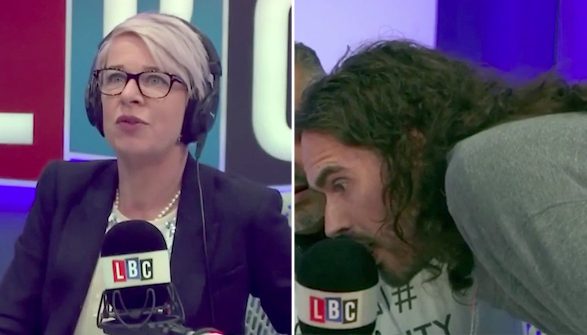 Katie Hopkins scolds Russell Brand as he bursts into LBC studio while she is presenting live on air