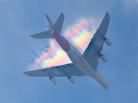 Stunning photographs show plane flying on a rainbow