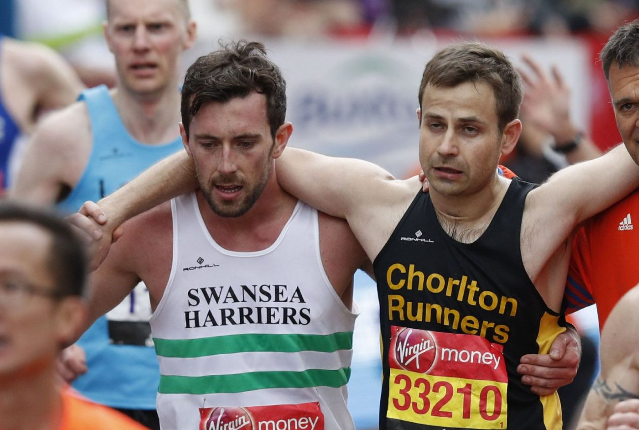Marathon runners who helped each other over finish line reunited at Great Manchester Run