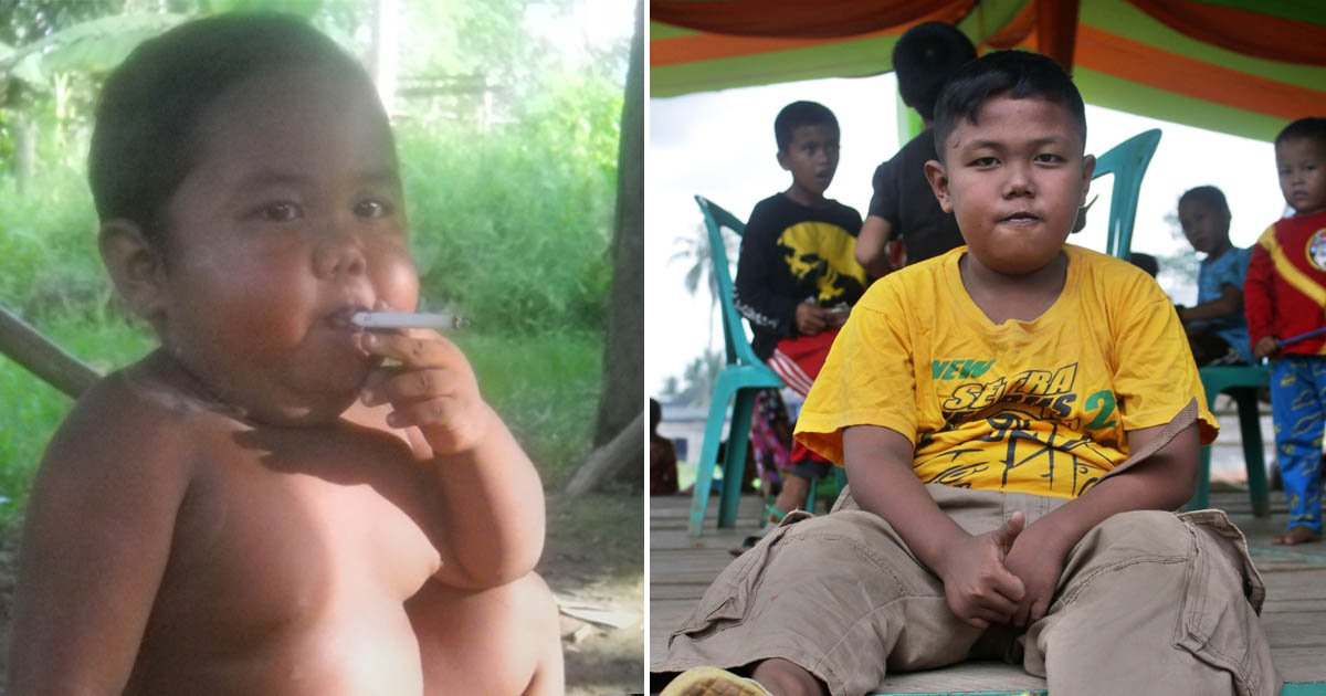 'Chain-smoking' toddler has transformed his life seven-years later