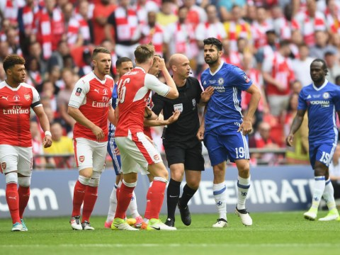 Arsenal defender Rob Holding spotted mocking Chelsea's Diego Costa after early clash in FA Cup final