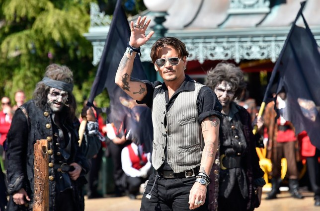 "PARIS, FRANCE - MAY 14: PARIS, MAY 14: Johnny Depp attends the European Premiere to celebrate the release of Disney's ""Pirates of the Caribbean: Salazar's Revenge"" at Disneyland Paris on May 14, 2017 in Paris, France. (Photo by Kristy Sparow/Getty Images for Disney)"