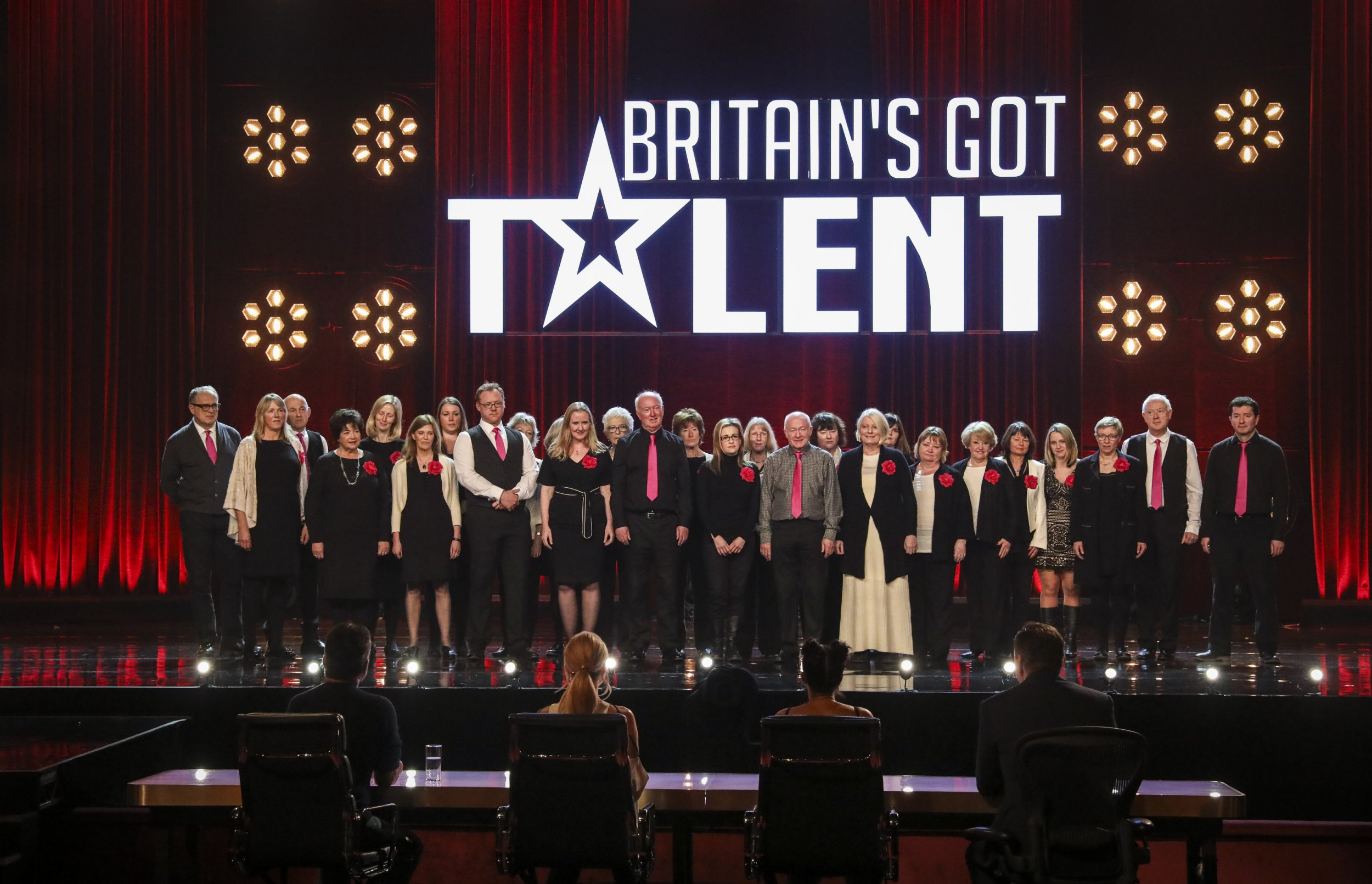 **STRICTLY EMBARGOED UNTIL 21:20 BST SATURDAY MAY 27TH** Judges and contestants are seen on this week's Britain's Got Talent, due to air Saturday May 27th. Pictured is Missing People Choir.