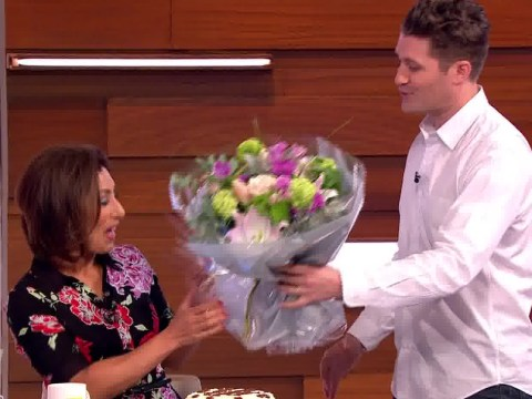 Glee's Matthew Morrison surprises birthday girl Saira Khan on Loose Women by serenading her with flowers