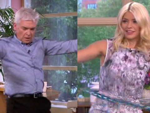 Watch as Holly Willoughby reads the This Morning goodbye while hula-hooping (but Phillip Schofield is rubbish)