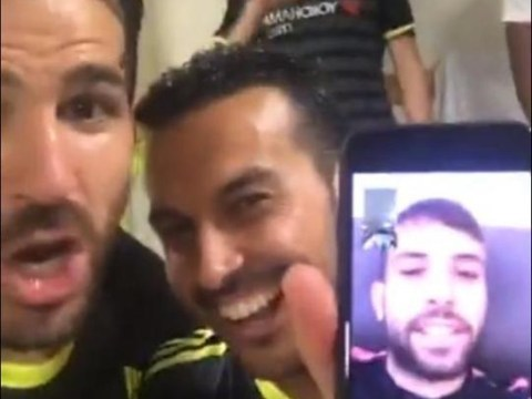 Barcelona star Jordi Alba joins in with Chelsea's title celebrations at the Hawthorns