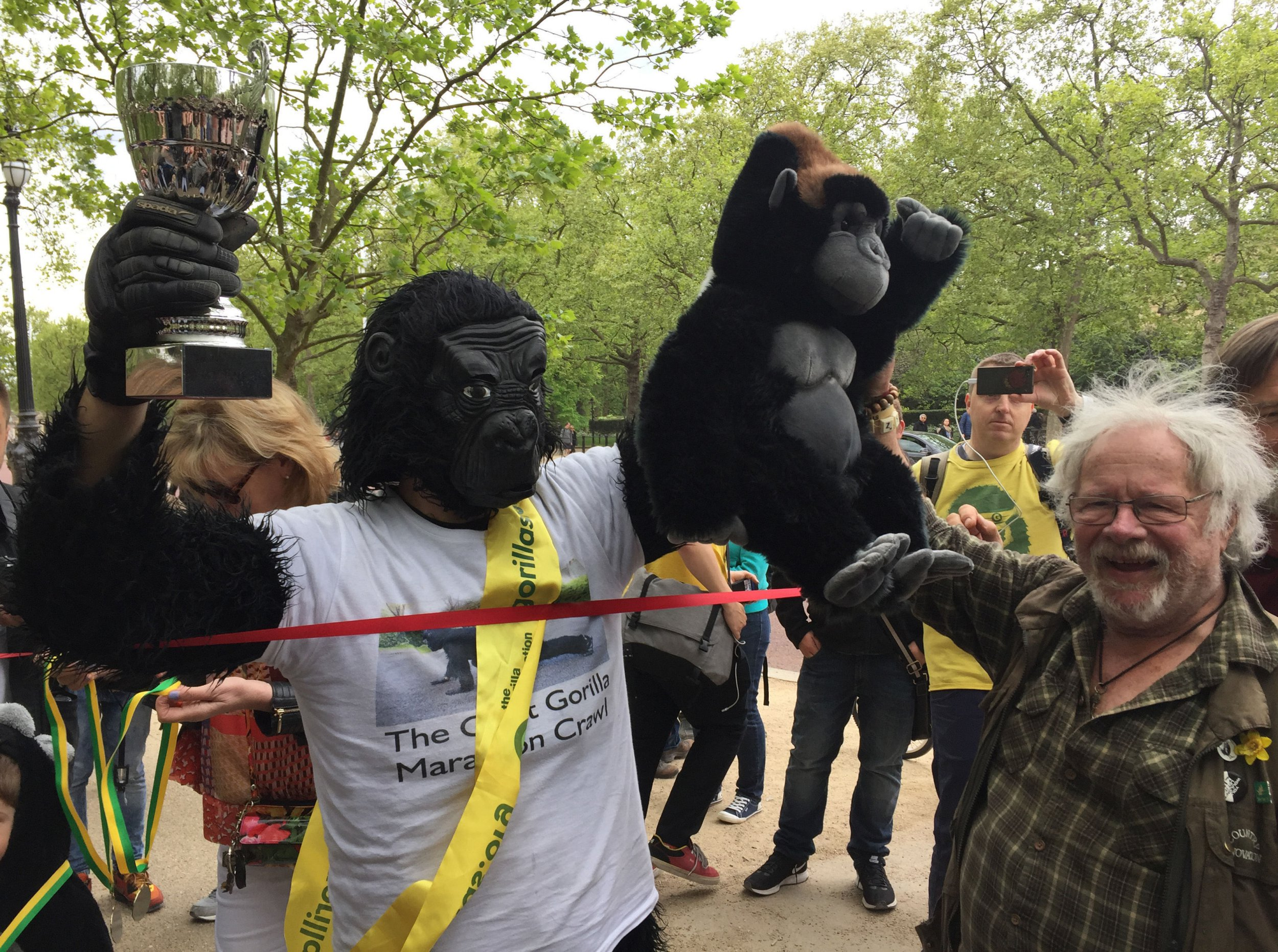 'Mr Gorilla' raises £50,000 for charity after crawling London Marathon
