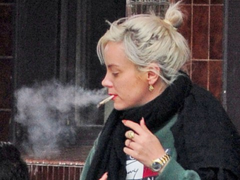 Lily Allen puffs on cigarette taking a break from tweeting support for Jeremy Corbyn
