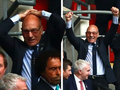 Sir Patrick Stewart puts on a very animated display as his beloved Huddersfield win at Wembley on penalties