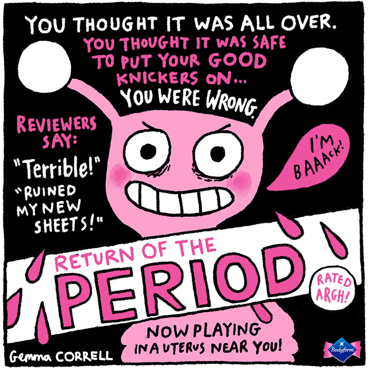 Bodyform partners with Gemma Correll to create a brilliant campaign about period pains