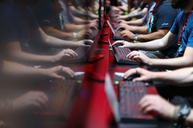 a group of PC gamers competing