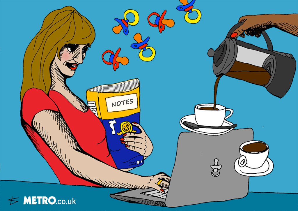 woman with notebook and coffee