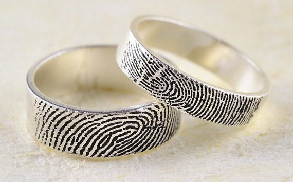 Fingerprint wedding bands are a personal spin on the wedding ring