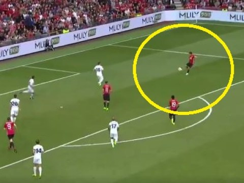 Gary Neville tries a worldy during Michael Carrick's testimonial, backfires spectacularly