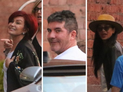 Late arrival Louis Walsh joins X Factor judges Simon Cowell, Sharon Osbourne and Nicole Scherzinger to film in Liverpool