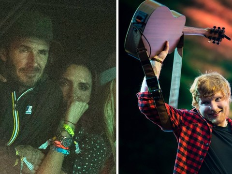 Watch Victoria and David Beckham dance like nobody's watching as they cheer along Ed Sheeran at Glastonbury