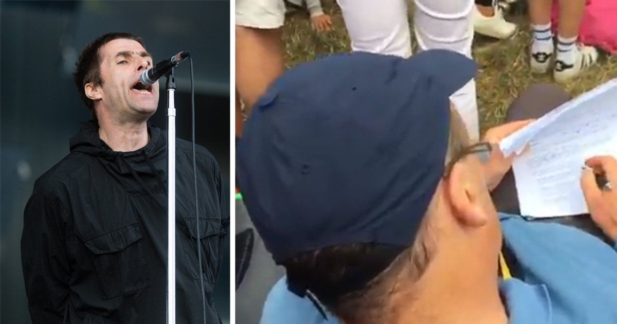 Teacher casually marks homework during Liam Gallagher's Glastonbury gig