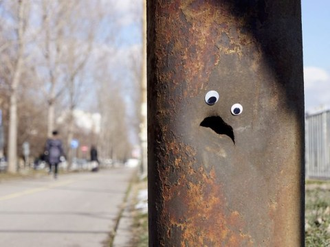 Artist places googly eyes on broken objects to give passersby a giggle