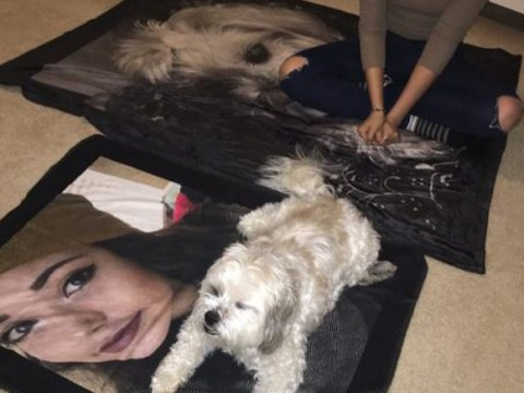 This guy gave his girlfriend and her dog the most amazing matching blankets