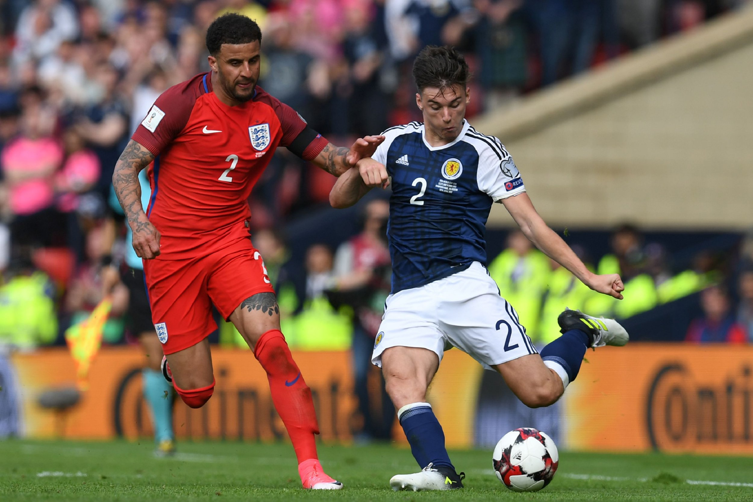Manchester United sent three scouts to watch Kieran Tierney in England's draw against Scotland