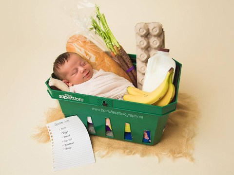 Mum who gave birth in supermarket celebrates with shopping-themed shoot