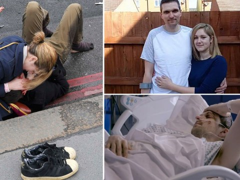 Moving photo of 'stranger' caring for Westminster attack victim is actually his wife
