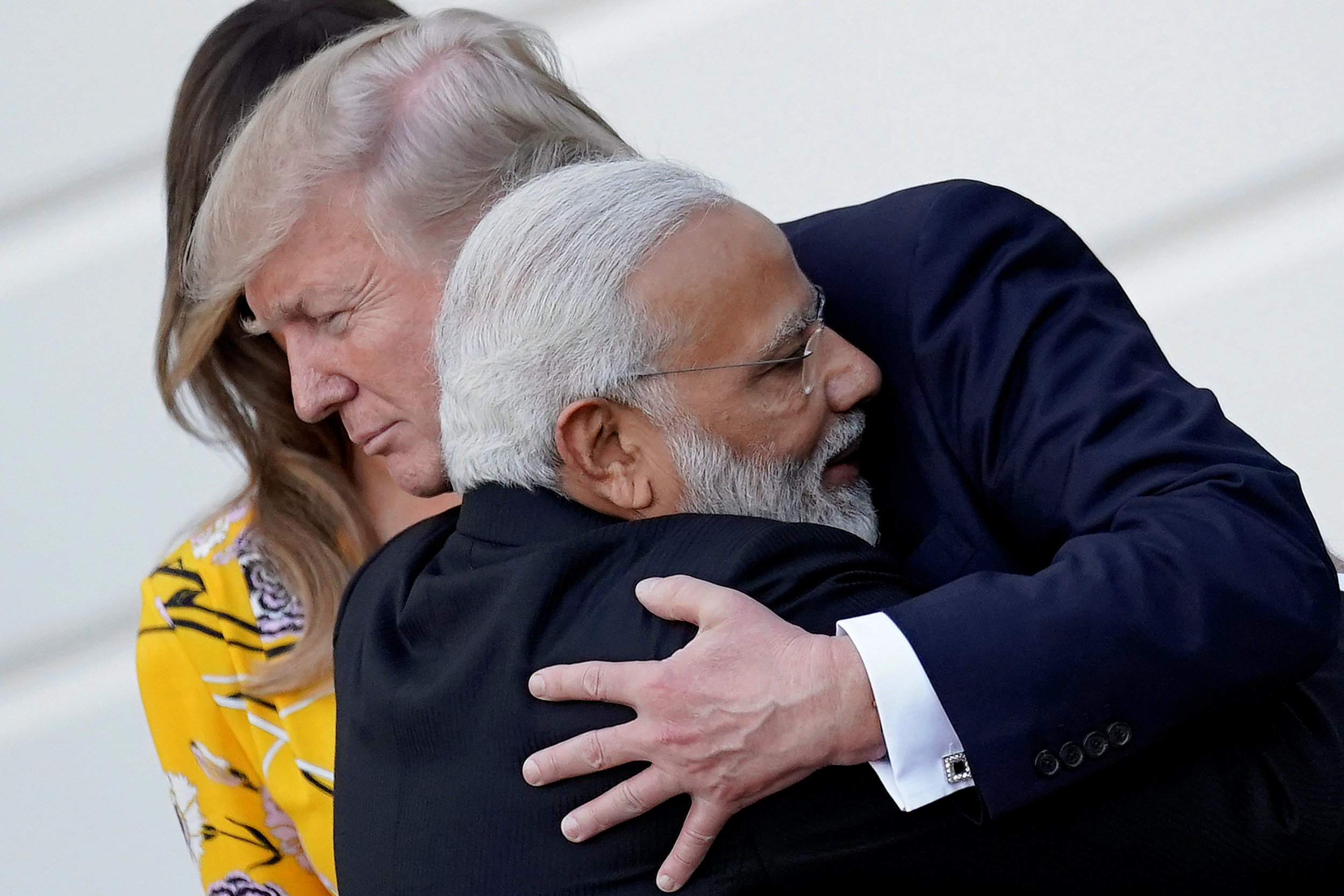 Video of Indian PM bear-hugging Trump like a small child is magical