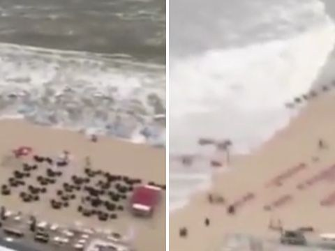 Beach resort hit by seven foot wave as mini tsunami strikes the Netherlands