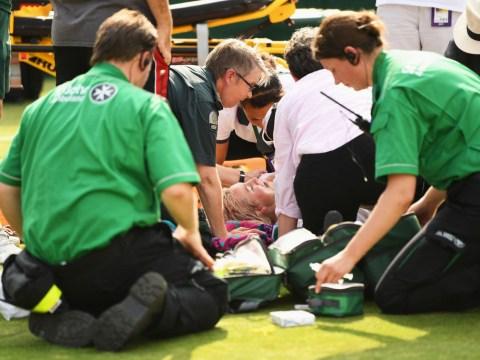 Tennis star Bethanie Mattek-Sands screams 'help me' before ambulance wheels her away from Wimbledon