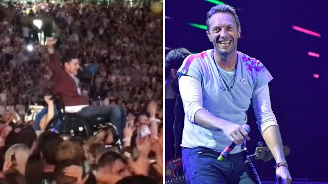 Watch wheelchair-bound Coldplay fan crowdsurf then perform on stage with the band