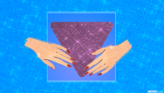 illustration of a purple sparkly triangle with hands
