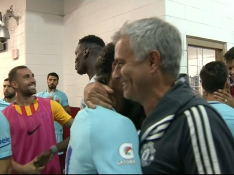 10f006f1903 Jose Mourinho discusses Neymar transfer after pre-match tunnel embrace with  Barcelona star
