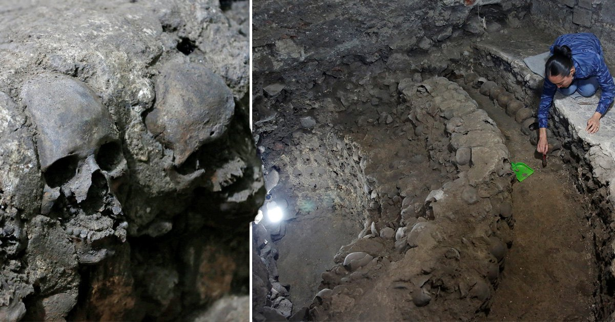 Archaeologists find tower made from hundreds of human skulls in Mexico