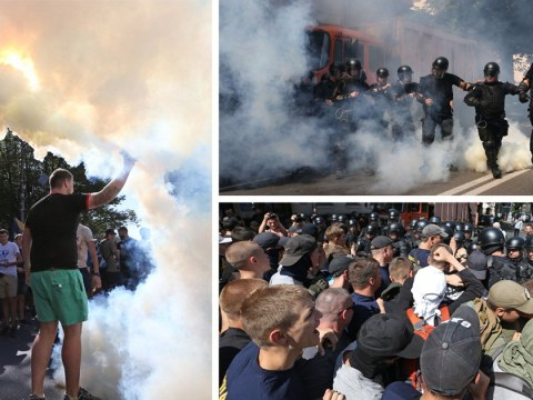 More than 1,000 protesters clash with police outside Ukrainian Parliament in Kiev