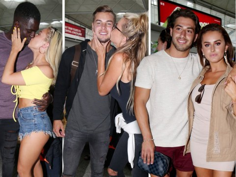 You're not in Love Island any more! Olivia, Chris and co return to Blighty and pack on the PDAs at the airport